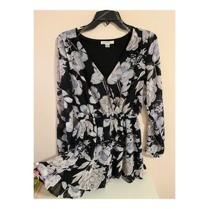 Dresses & Skirts - Black Floral Romper with White Flowers (worn once)